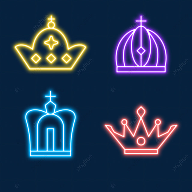 crowned king and queen tiara neon light effect crown