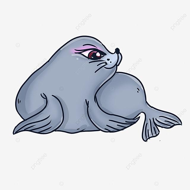 cute cartoon style blue gray squatting walrus clipart