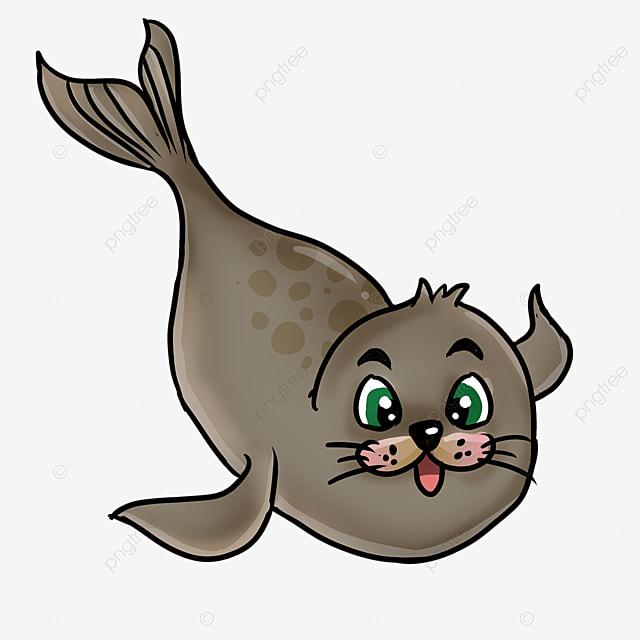 cute fat swimming walrus in cartoon style clipart