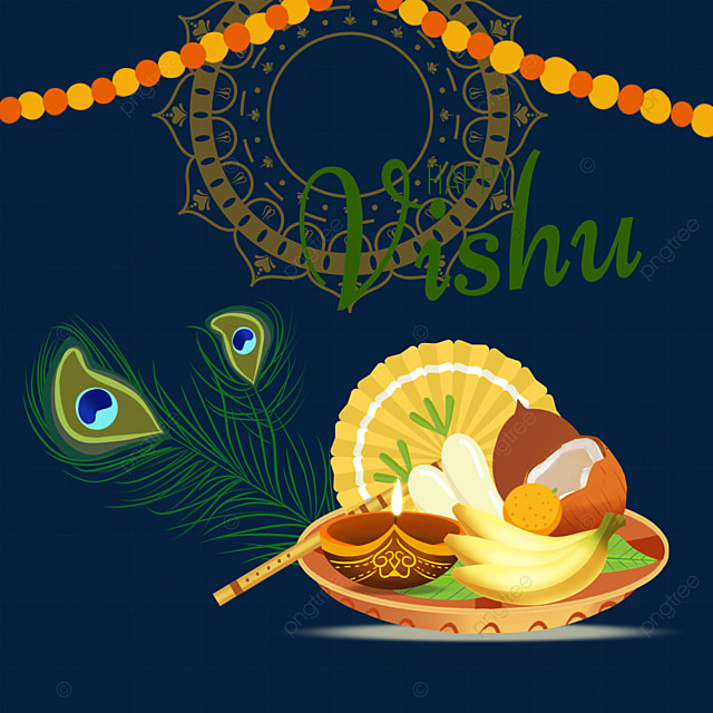 feathers decorated with silver utensils for vishu festival in india