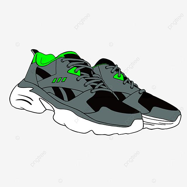 fluorescent night running fitness running shoes clipart