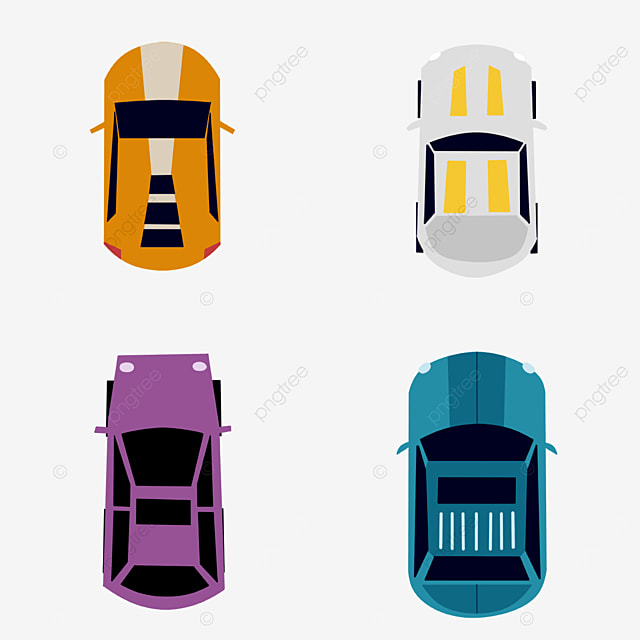 four cars top view clipart