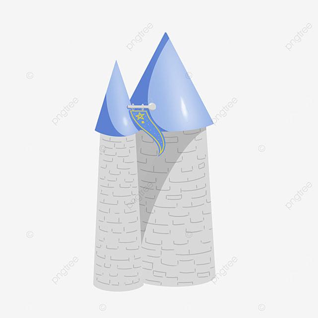high tower clipart blue tone banner castle
