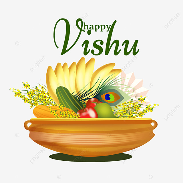 indian vishu feathers and fruits
