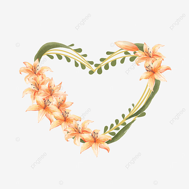 lily bridal wedding heart border orange