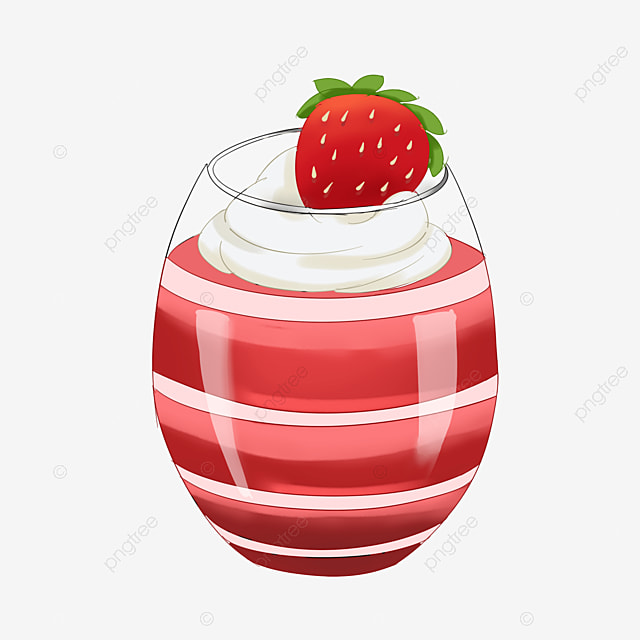 pink strawberry cup jelly clipart
