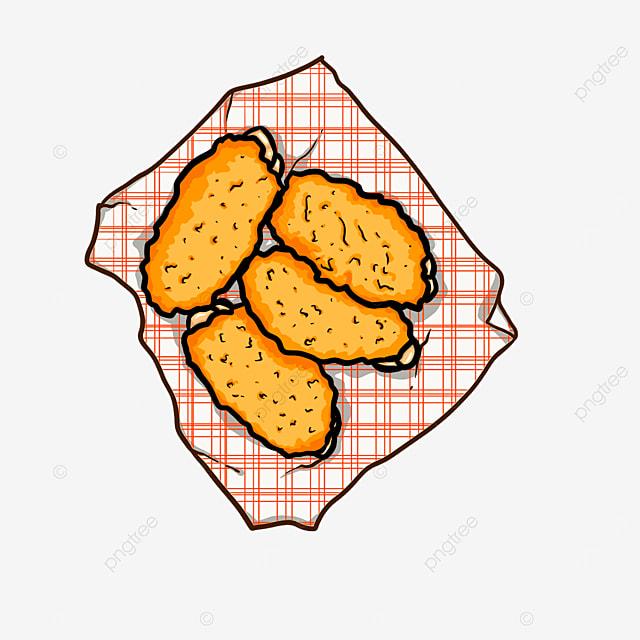 plaid delicious fried chicken cute cartoon clipart
