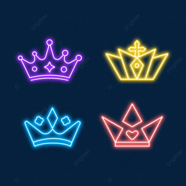queen and princess tiara neon light effect crown