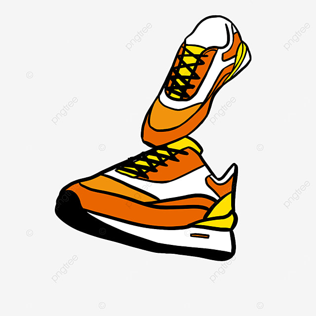 vibrant color sports running shoes clipart