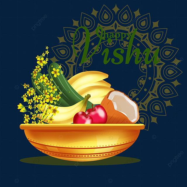 vintage pattern background with silver utensils for indian vishu festival