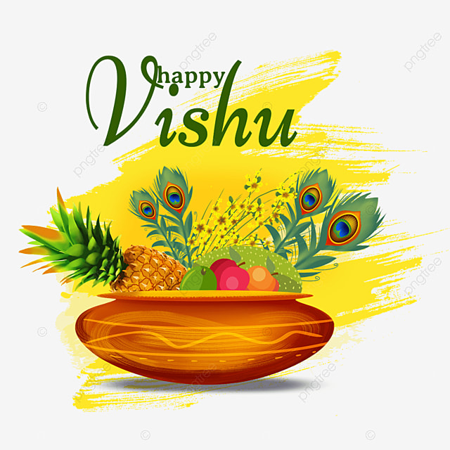 yellow brush india vishu feathers and fruit with silver utensils