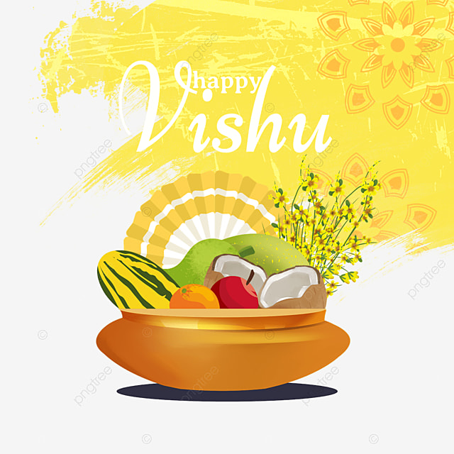 yellow brush indian vishu festival fruit illustration
