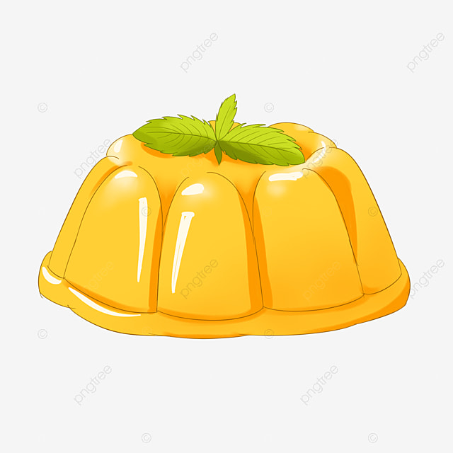yellow pudding jelly with mint leaves clipart