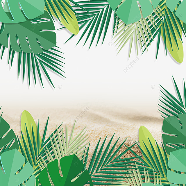 summer beach tropical background plant green leaves