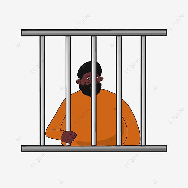 bearded prisoner in prison clip art