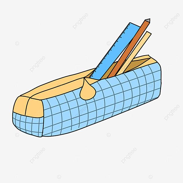blue plaid pencil box clip art