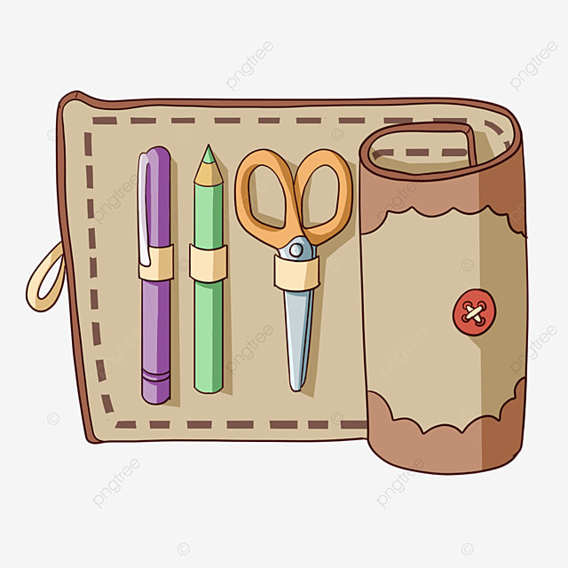 brown pencil box with scissors clipart