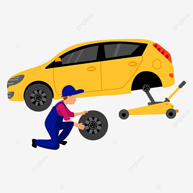 cartoon car repair service