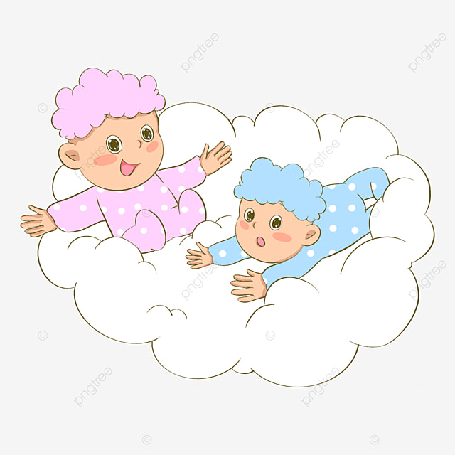 twins in the clouds clipart