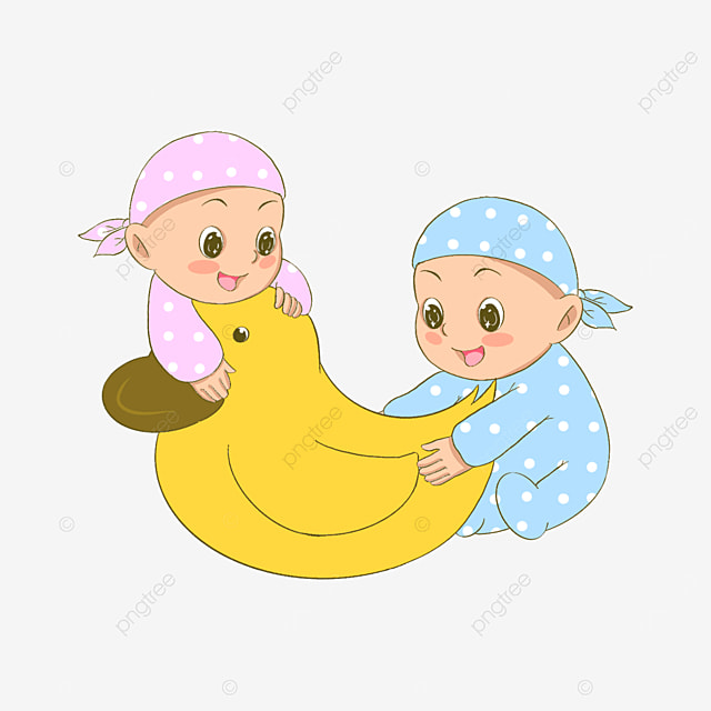 twins next to the little yellow duck clipart