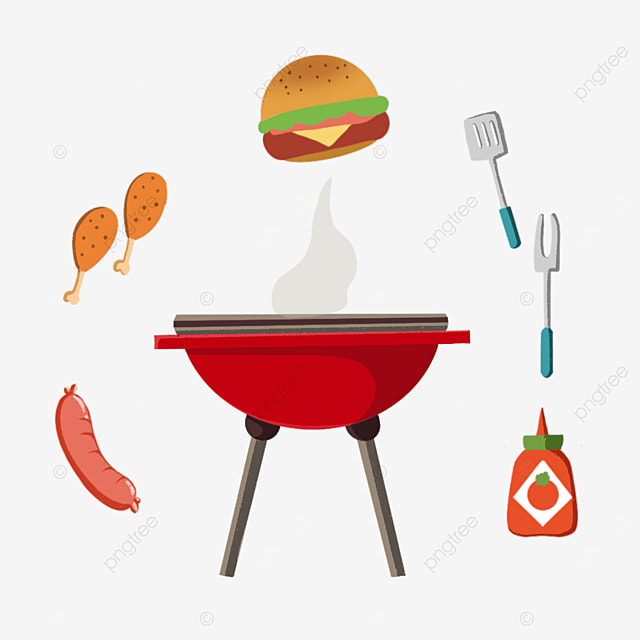 barbecue in red oven clipart