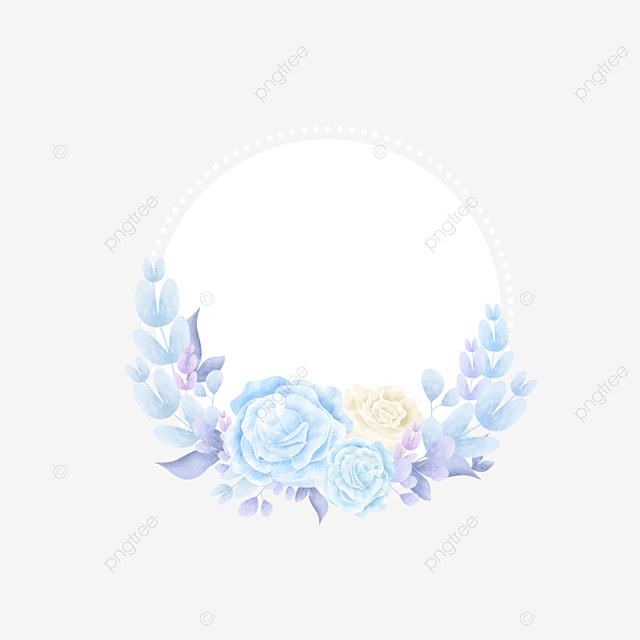 blue rose wedding round border