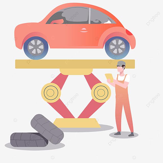 car lift maintenance beauty illustration