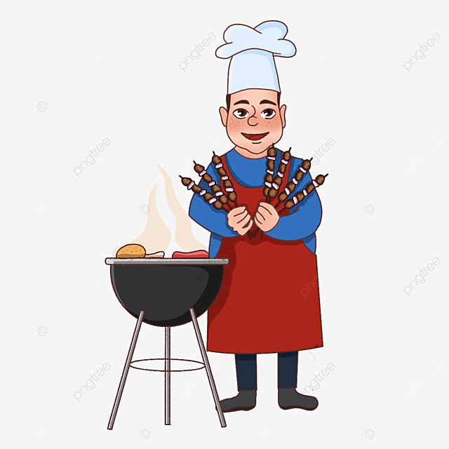chef holding skewers of barbecue clipart