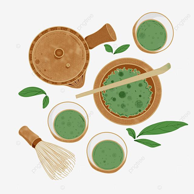 green matcha japanese tea set and cup