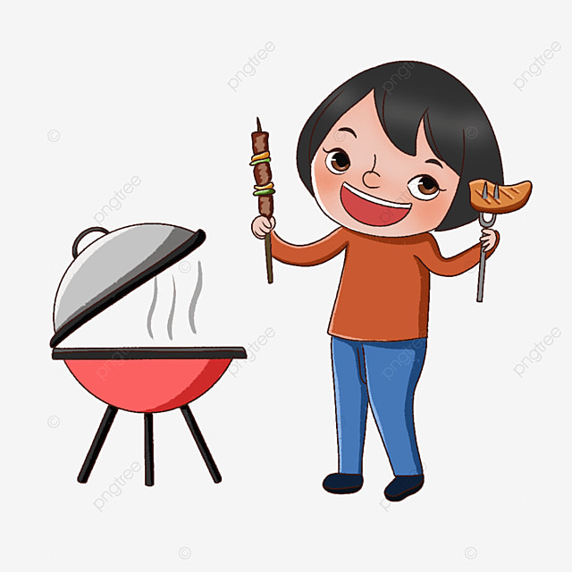 little girl holding barbecue clipart
