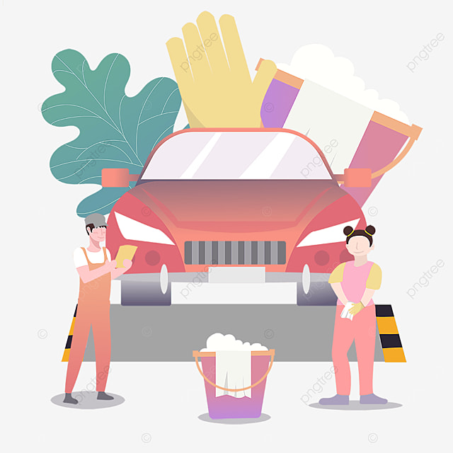 wipe car auto repair beauty service illustration