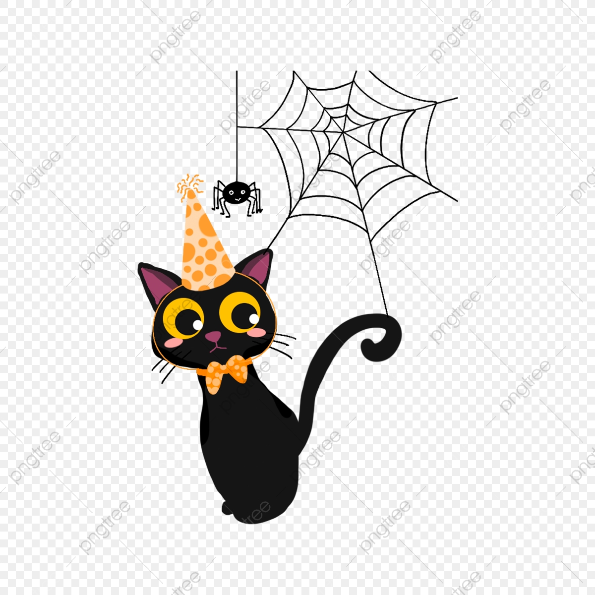 Happy Birthday Cat Spider Web Kitten Happy Birthday Lovely Png Transparent Clipart Image And Psd File For Free Download