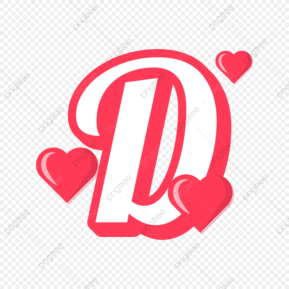 Letter D With Red Heart Valentine Day, Red, Valentine, Love PNG ...