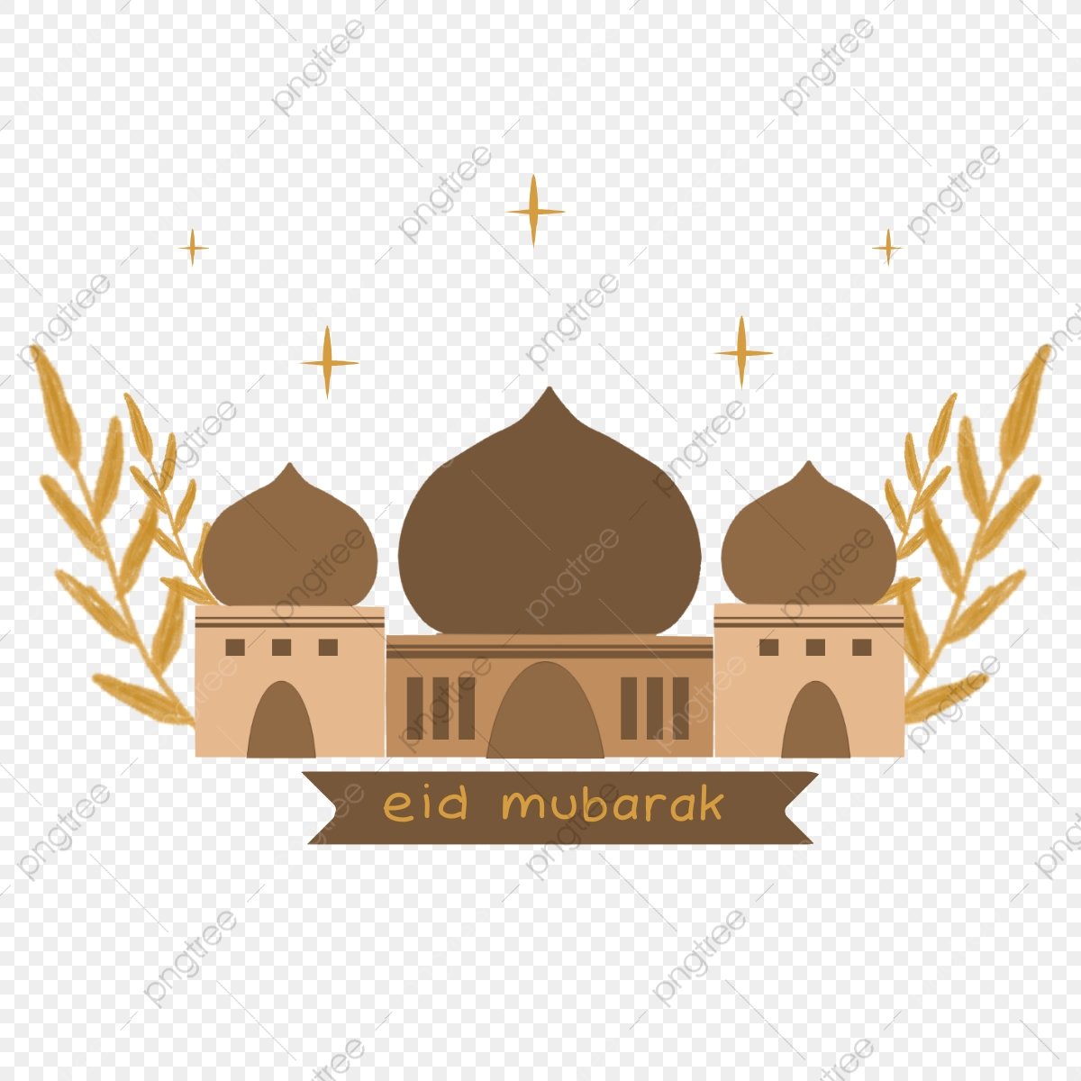 Happy Eid Mubarak Template In Brown Colour Brown Leaf Ribbon Png Transparent Clipart Image And Psd File For Free Download