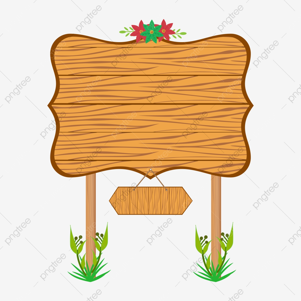 Wooden Single Game Ui With Space For Text Signboard Flower ...