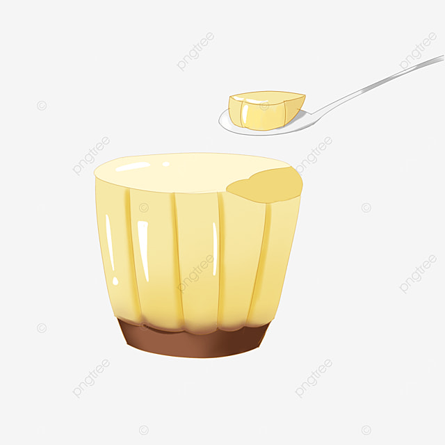 yellow pudding spoon jelly clip art