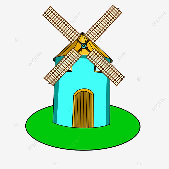 blue windmill clip art