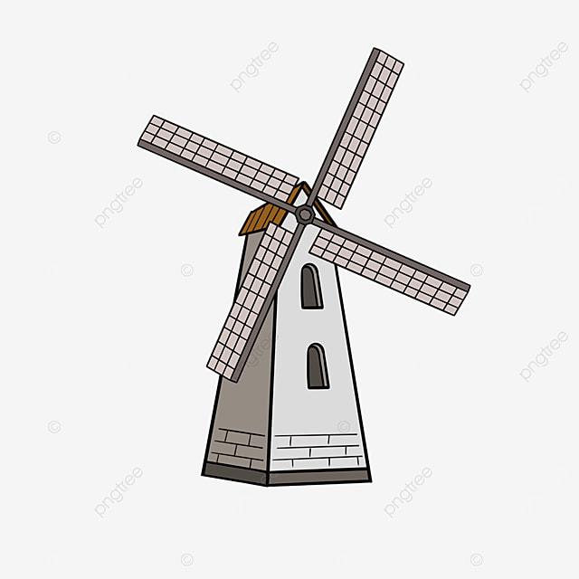 gray windmill clip art