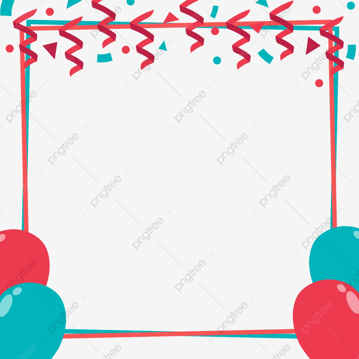 Red Blue Celebration Border With Balloons Blue Red Ballons Png And Vector With Transparent Background For Free Download
