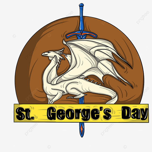 white st george dragon label