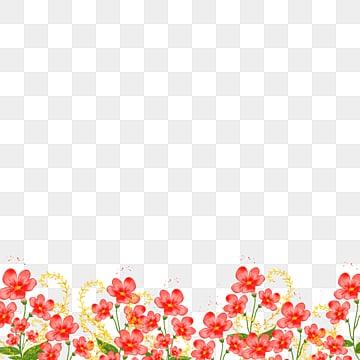 สีน้ำแต่งงานสีแดงสดใสดอกไม้ชายแดน, ดอกไม้, สีน้ำ, งานแต่งงาน PNG และ PSD