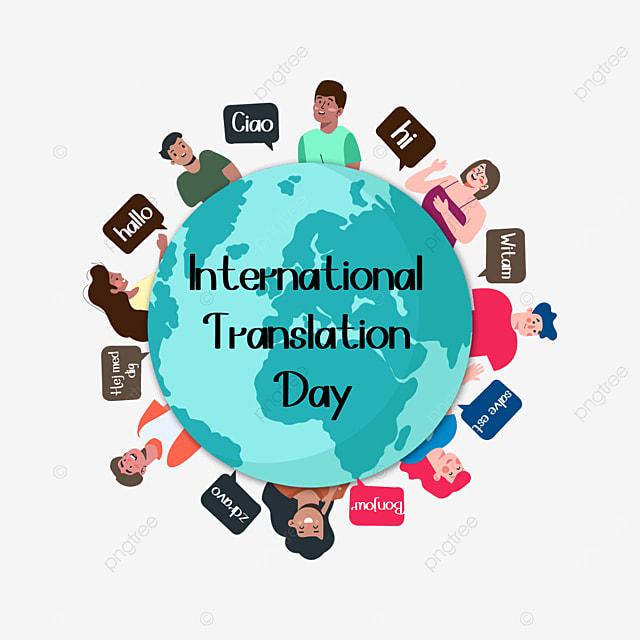 flat style international translation day