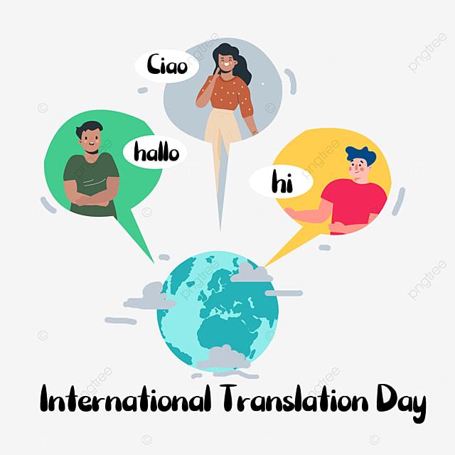 international translation day simple cartoon