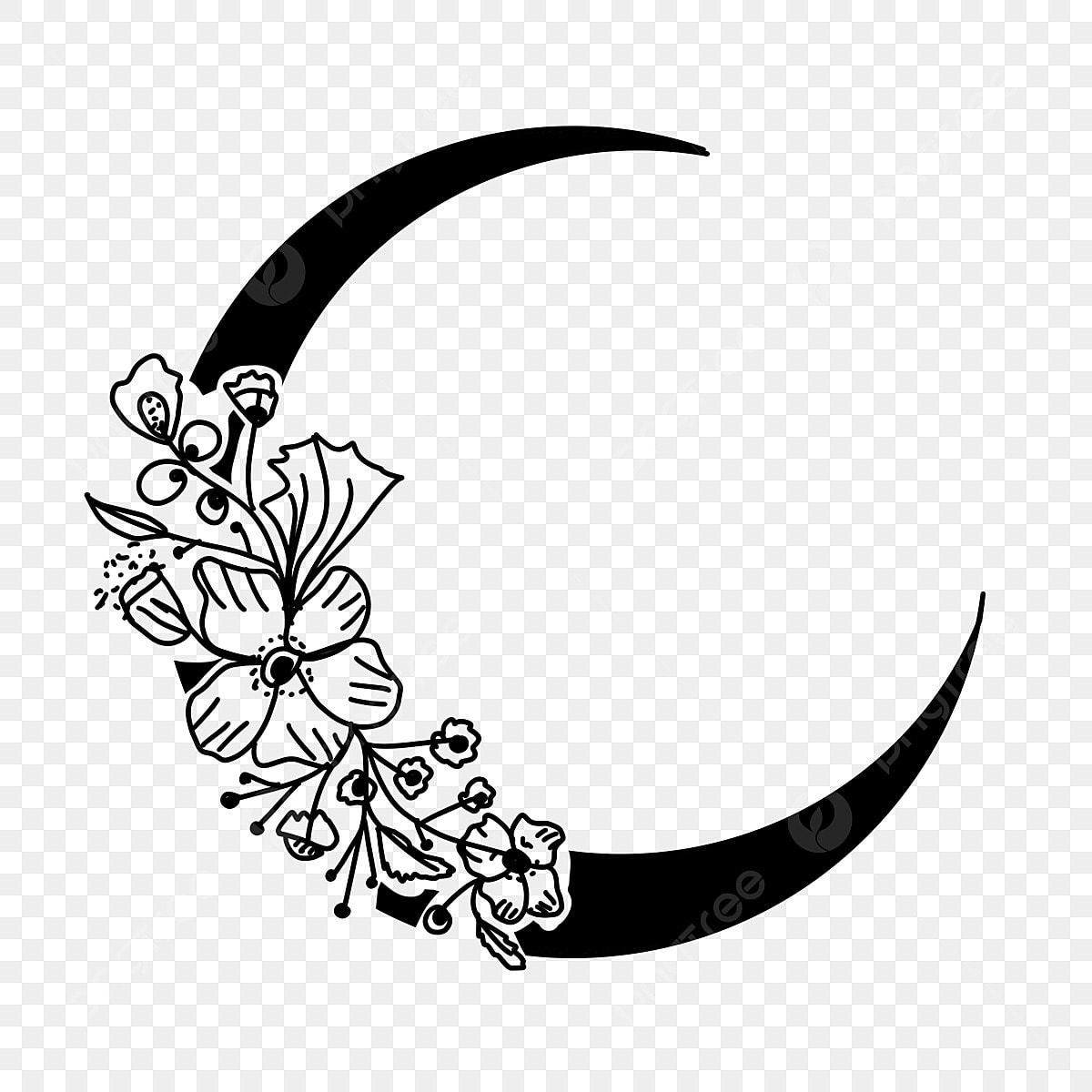 Mond Floral Black Moon Clipart, Mond, Crescent, Linie PNG und PSD ...