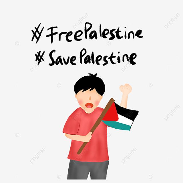 Free Palestine Kids Bring Flag Faceless Kids Illustration Save Gaza Muslim Palestine Png Transparent Clipart Image And Psd File For Free Download