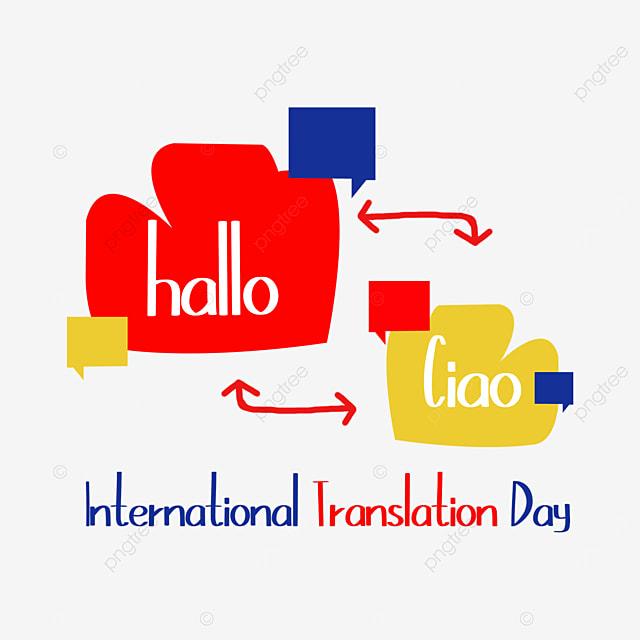 international translation day color flat bubble