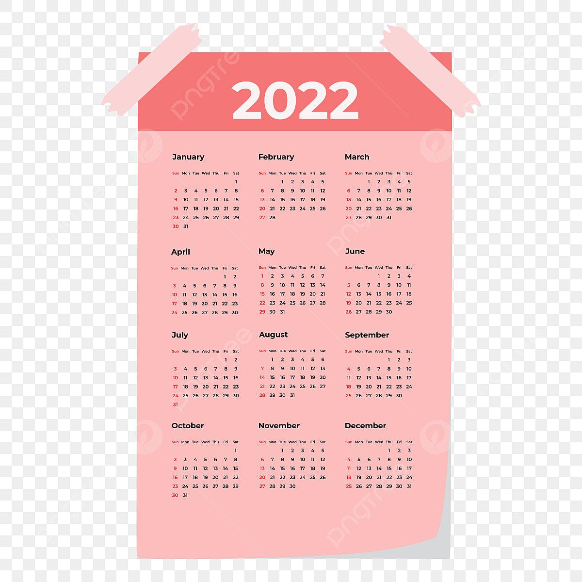 Calendrier Commercial 2022 Calendrier Mural 2022, Journée, Calendrier 2022, Papier PNG et