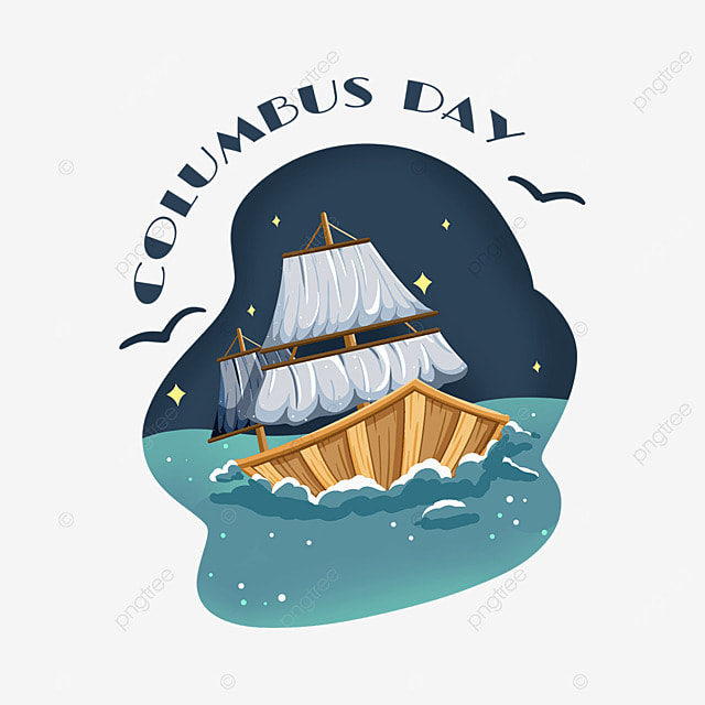 cartoon columbus day ocean