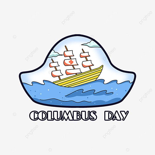 cartoon columbus day ocean wave