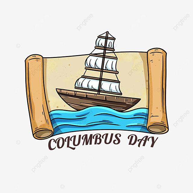 columbus day cartoon scroll